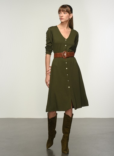 NGSTYLE Ngkss21El0006 Düğme Detaylı Örme Elbise Haki